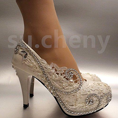 Jingxinstore Chaussures En Dentelle De Cristal Blanc Clair