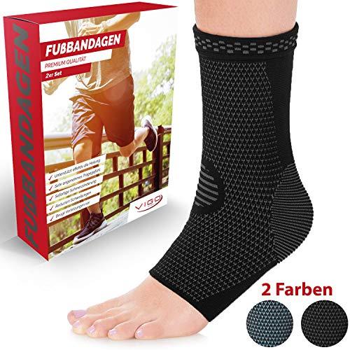 Vigo Sports® 7-Zonen Fußbandage (2 Stück) – Kompressionssocken für effektive Schmerzlinderung auch bei Fersensporn & Bänderriss –Sprunggelenk Bandage für Stabilität an Knöchel & Mittelfuß (L)