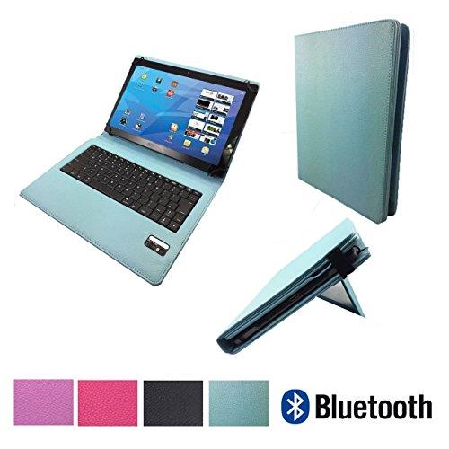 MEDION LIFETAB S10346 MD 99282 Bluetooth QWERTZ Tastatur Hülle Keyboard Case Etui - Bluetooth Tastatur Tu rkis 10.1 Zoll