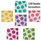 120 Servietten gepunktet - Bunt/Weiß, 33 x 33 cm, 1/4-Falz, Papier, 6 verschiedene Farben wählbar - grün, gelb, lila, pink, blau und rosa