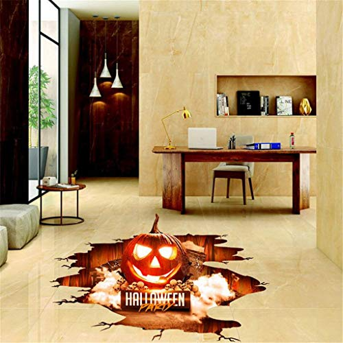 Xiangdandul Halloween 3D Gebrochen Wandaufkleber Boden Aufkleber Wandtattoo Wandbild Falle Fenstersticker Wall Sticker Home Decor Ghost Hand Wanddeko Kürbis Spinnennetz Dekoration (A, 80.0)