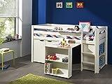 'Autobett picohsbubikd14Pino Hochbett mit Schreibtisch/Bücherregal und Kommode 2Türen Kiefer massiv weiß