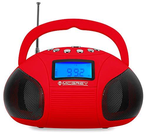 McGrey MC-50BT-RD Bluetooth Lautsprecher - Boombox mit UKW Radio-Wecker und Uhr - USB und SD Player - Betrieb über auswechselbaren Handy Akku oder Netzteil - Rot (Alarm-radio-bluetooth-uhr)
