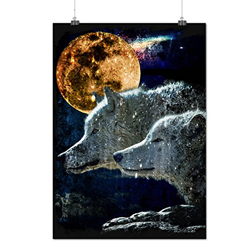 wolf-couple-moon-animal-wild-animal-matte-glossy-poster-a3-42cm-x-30cm-wellcoda