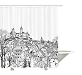 yeuss Wohnungs Decor Kollektion, Antennenkabel View für eine Mittelalterliche Stadt mit Gothic Dächer und Türme Royal