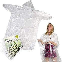 6 Chubasquero Transparente, Desechable e Impermeable – Abrigo Poncho Protección Resistente a Lluvia - Chaqueta con Capucha y Mangas - Viaje, Festivales, Senderismo, Ciclismo, Emergencia| Adulto