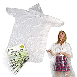 6 Pack Emergency Disposable Waterproof Ponchos, Transparent PE  Compact & Portable Raincoat Pac a Mac with Hoods & Sleeves for Camping, Hiking, Cycling, Travel, Festivals, Theme Parks, Outdoors. 18