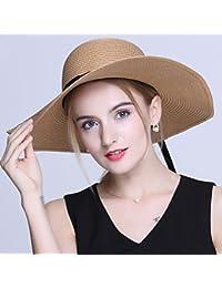 3c40f7a66ee8e Buena - sombrero Sombrero de la Playa de Color Caqui Gran Sombrero de Paja  de ala Ancha Playa de Verano Dayan Mao…
