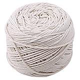 ODN Baumwoll Garn Natur Kordel Schnur Garn Baumwollschnur Rope für DIY Handwerk Basteln Makramee Wand Aufhängung Pflanze Aufhänger (200m*3mm)