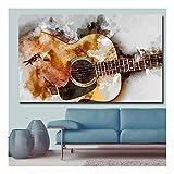 XIAOXINYUAN Impression La Mélodie De La Guitare Art Abstrait Mur Art Photo Décor À La Maison Salon Moderne Impression sur Toile Aucun Cadre Peintures 60 × 120 Cm...