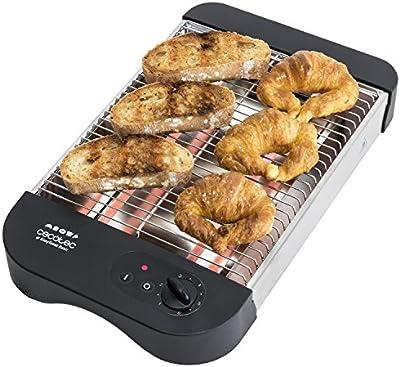 Tostador plano horizontal de 600 W para tostar pan o todo tipo de bollería, 6 niveles, bandeja recogemigas y hueco recogecables. Easy Toast Basic de Cecotec.