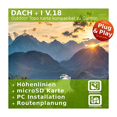 DACH V.18 - Outdoor Topo Karte kompatibel zu Garmin Navi - Perfekt zum Wandern, Geocachen, Bergsteigen und die Radtour