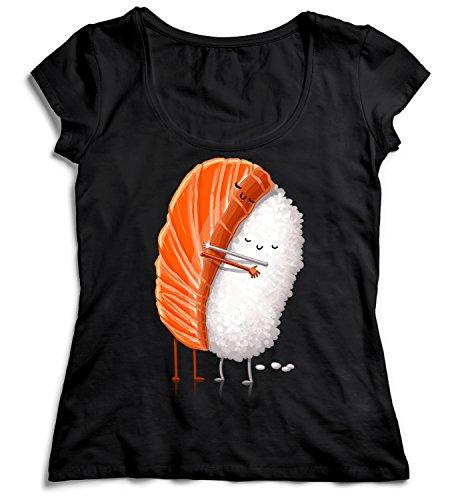 MYMERCHANDISE Sushi Friendship Damen T-Shirt Black Men's Shirt Baumwolle Cotton Damen 2XL Women Black T-Shirt - Tragen Sie Augen-palette