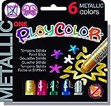 PLAYCOLOR - METALLIC ONE - Stick de peinture gouache solide 10 g - 6 couleurs assorties