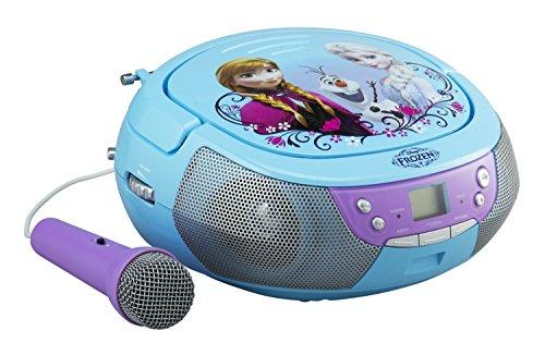 frozen cd ekids FR-430 Disney Frozen CD-Player mit Mikrofon für Kinder tragbar Anna und ELSA blau