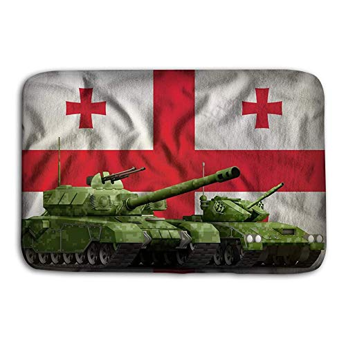 deyhfef Kitchen Floor Bath Entrance Door Mats Rug Tanks Green Pixel Camouflage Georgia Flag Background Georgia Tank Forces Concept d Georgia Tank Forces Non Slip Bathroom Mats 23.6