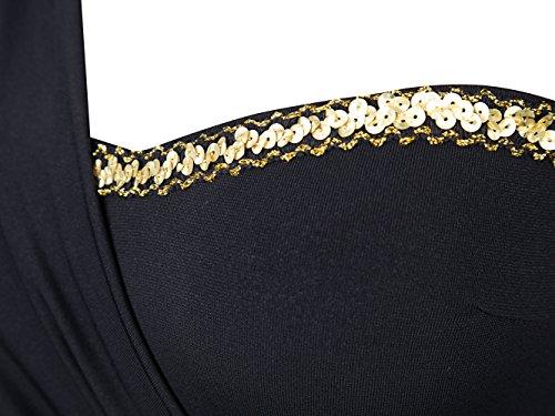 Angel fashions Damen Eine Schulter Spaltung Spalte Prom Abendkleid Schwarz