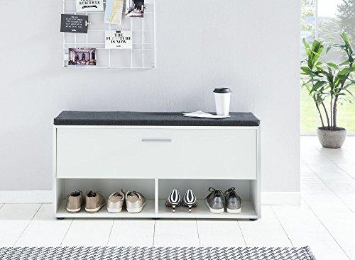 Schuhregal 'Antonio 4', weiß, 103,5 x 54 x 30 cm, mit Klappe, mit Sitzpolster graphit, Schuhbank