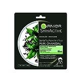 Garnier Maschera Viso Idratante con Carbone Vegetale e Acido Ialuronico, in Tessuto Nero Pure Charcoal, per Pelli Normali o Miste