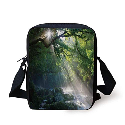 Rainforest Decorations,Stream in The Jungle Stones Under Shadows of Trees Sunlight Mother Earth Theme,Green White Print Kids Crossbody Messenger Bag Purse -