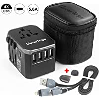 CleverTrips Universal Travel Power Adapter All in One Worldwide International Wall Charger AC Plug Adaptor with 5.6A Smart Power USB and 3.0A USB Type-C For USA EU UK AUS Cell Phone Tablet Laptop ( Black )