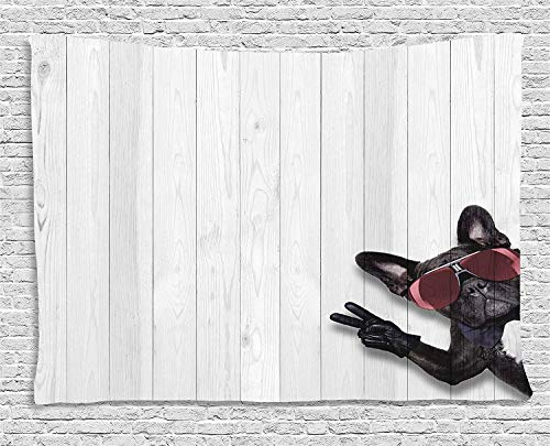 VTXWL Animal Decor Tapestry, Cool Husky Dog with Sunglasses Making Peace Sign with Paws Art Print, Wall Hanging for Bedroom Living Room Dorm, 80 W X 60 L Inches, Light Grey Black