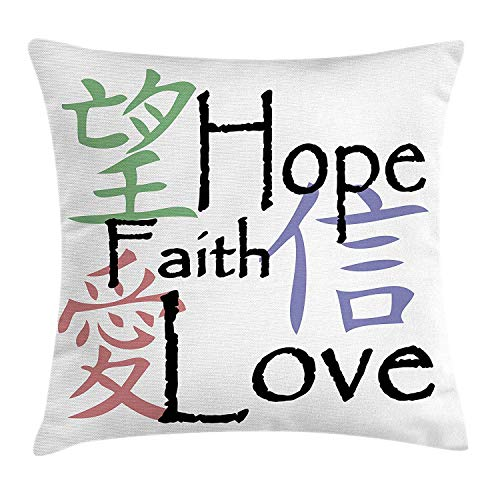 Zhengzho Kissen KissenbezugChinesische Symbole der Glauben-Hoffnungs-Liebe mit orientalischer Illustration der religiösen Anordnung Decor Square Pillow Case 45x45 cm