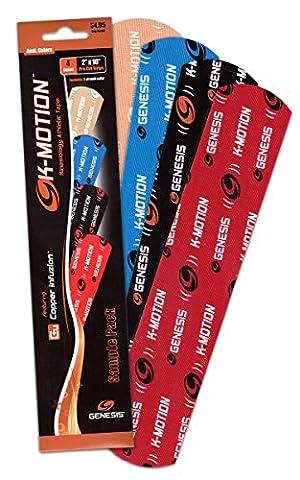 K-Motion Kinesiologie Tape mit Kupfer Infuzion Pre Cut 20 Stück a 5,08cm X 25,4cm, Kinesiologietape - Physio-Tape -Sport-Tape - elastische Bandage für Physiotherapie, Sport, Freizeit und Medizin (Sample Pack 1 Streifen pro
