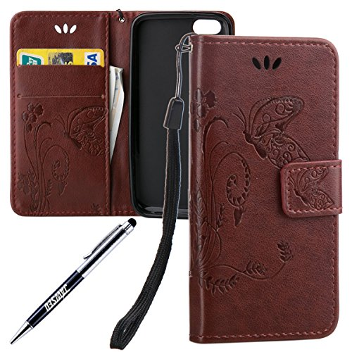 JAWSEU Coque pour iPhone 5C,iPhone 5C Portefeuille Coque en Cuir,iPhone 5C Cover Flip Wallet Case Ultra Slim,2017 Neuf Femme Homme Luxury Retro Gold/Oro Butterfly Papillon Motif Leather Pu Folio Etui  Marron foncé