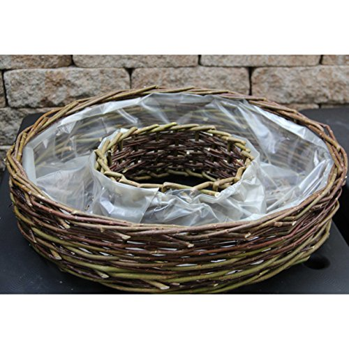 Pflanzring aus ungeschälter grober Weide | mit Folie ausgelegt | Durchmesser 50 cm