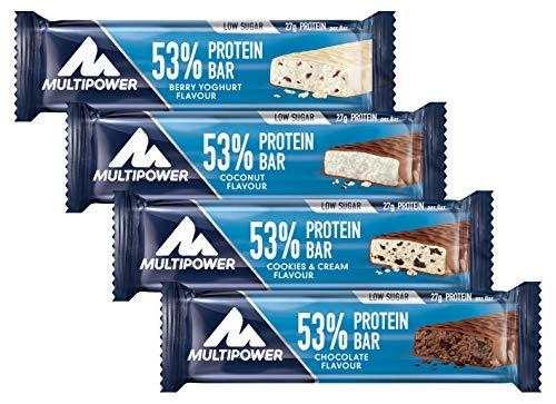 Multipower 53{9e49b06729af9e198edf3df4f2ee5ef2de120d20bab458d761a3fb7d52b15f77} Protein Bar - 24 x 50 g Proteinriegel Mix Box (1,2 kg) - 27 Gramm Protein pro Energieriegel - mit Eiweißriegeln in 4 Geschmacksrichtungen