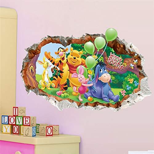 XIONGXI Autocollant de Porte Winnie l'ourson Applique Murale bébé vêtements Enfants Chambre Enfants PVC 3D Effet Mural Livre Autocollant décoration