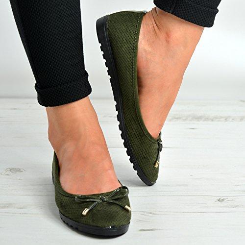 Cucu Fashion , Damen Ballerinas schwarz schwarz armee-grün