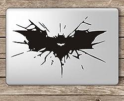 CVANU Batman Cracked Symbol Laptop Vinyl Sticker (Black)