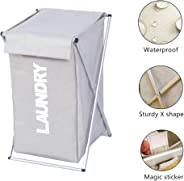 Laundry Basket Bin Clothes Sorter Hamper Storage Organizer Bag Waterproof with Aluminum Frame Foldable for Clothes Toys in Bathroom Washroom Bedroom Home