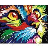 gaowei Peinture animalièreImage deChatsur Le Mur Peinture Acrylique à l'huile de numéros Dessin Abstrait de Chiffres Cadeau Unique Cadre 80x100cm