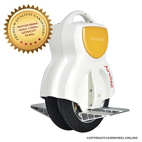 Elektro Einrad Airwheel Q1 Motorleistung 500W Akku 170Wh weiß-gelb