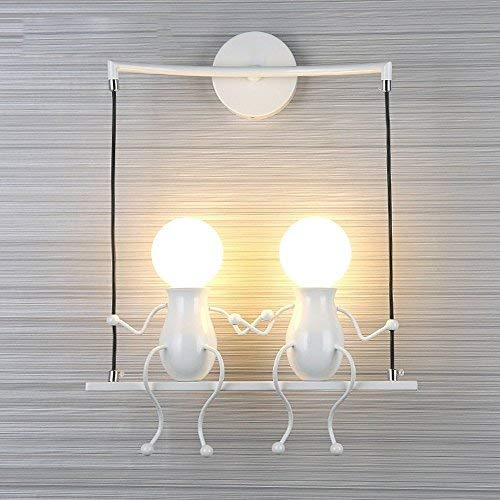 FSTH Simple Fashion Doll Swing Niños Lámpara de Pared Moderna Sala de estar Dormitorio Creativo Cabecero de Pared Luz de Vacaciones / Regalo de Boda (Blanco-2)