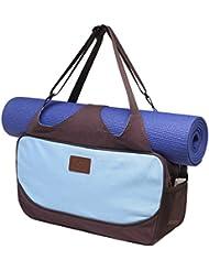 Bolsa de yoga «Vimalaa» de #DoYourYoga fabricada con lona (lienzo de algodón), con un laborioso acabado. ¡Para esterillas de yoga EXTRAGRANDES y SUPERANCHAS! azul cielo