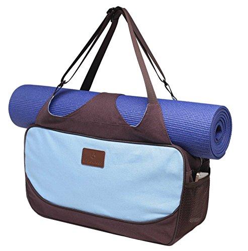 Große Yogatasche »Vimalaa« von #DoYourYoga aus Segeltuch (Baumwoll-Canvas) - aufwendig per Hand verarbeitet, für EXTRA-LANGE und EXTRA-BREITE Yogamatten! Die Yogatragetasche ( Yogabag) ist in sehr schönen Farben und ausgefallenen Designs erhältlich. Ferner eignet sich die Tasche auch für als Sporttasche / Fitnesstasche Farbe: Himmelblau