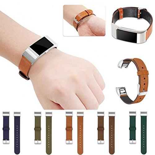 Preisvergleich Produktbild Sansee Sport Leder Armband Strap Band für Fitbit Charge 2 (Fitbit Charge 2/9686, Braun)