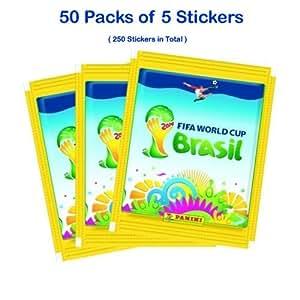 Official Panini FIFA World Cup 2014 Brazil (Brasil) 50 x Sticker Packs (250 Random Stickers in total) + FREE Sticker Book