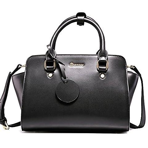 Teemzone Damen Tasche Umhängetasche Schultertasche Tagestasche Handtasche Leder Weiß&Schwarz Frauen