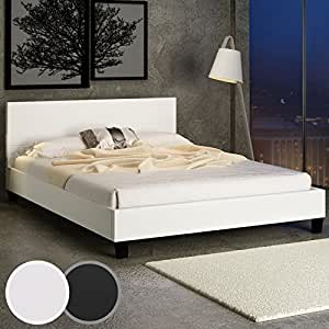 Faux Leather Bed ca. 6.2/7.0 ft with Slatted Frame (Cream)