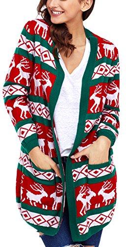 Charmley Femme Gilet Noël Pull Imprimé Tricotés à La Mode Manteau Chandail Grande Taille Cardigan Tops Sweat-shirts Multicolore