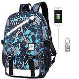 Withu Kyd Unisex Cool Jungen Mädchen Herren Damen Outdoor Rucksack Reiserucksack Anime Luminous Rucksack Daypack Schultertasche Laptop Tasche mit USB-Ladeanschluss, USB Blue Graffiti