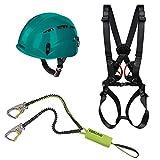 Alpidex Kletterhelm ARGALI + Alpidex Klettergurt Komplettgurt TAIPAN COMP + Edelrid Klettersteigset Cable Kit Lite 5.0, Farbe:turquoise green