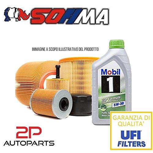 Kit tagliando auto, kit tre filtri e 4 litri olio motore Mobil 5W30 (KF1080/so)