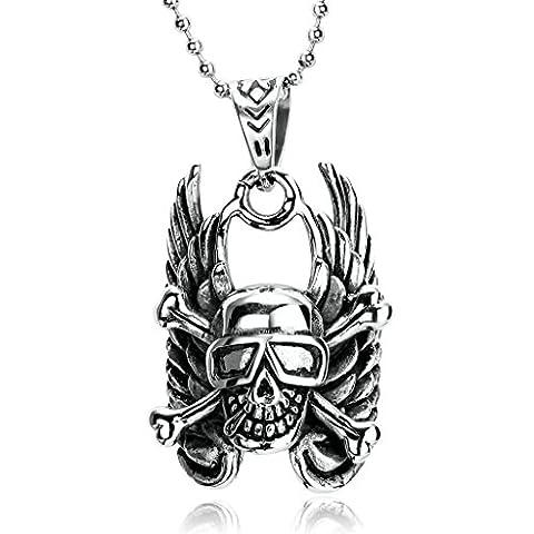 Epinki Stainless Steel Mens Boys Silver Black Gothic Wing Skull Crossbones Biker Pendant Necklace