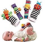 ajoycn 4 PCS New Born Baby Socken Handgelenk Bands Rassel Sounds Rasseln Sensory Toy Infant Kind